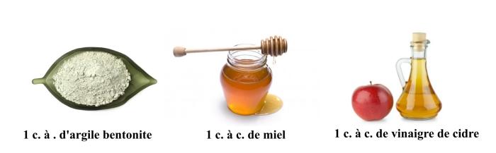 soin du visage naturel pour une peau grasse avec un masque fait maison à l'argile bentonite, miel et vinaigre de cidre