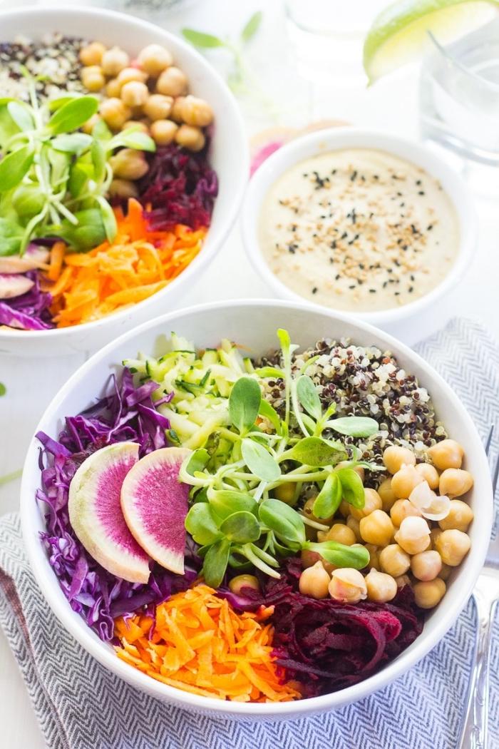 menu varié et équilibré pour l'été avec une salade de crudités fraîche et légère, de carottes, chou, betterave rouge, pois chiches, radis et graines de sésame