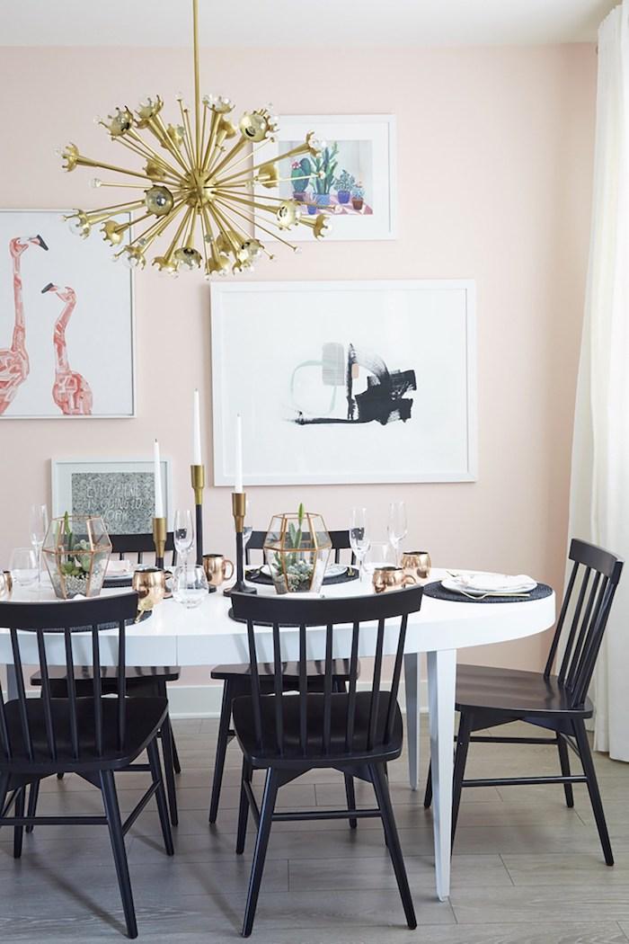 Deco salle a manger mur rose tableaux moderne chambre rose et gris belle chambre décoration blanc rose et noir