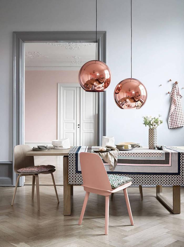 Chouette idée chambre rose poudré en association avec rose doré et gris murs idée déco appartement salle à manger rose et gris