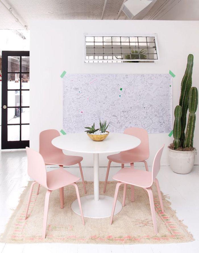 Rose poudree chambre rose poudré et taupe décoration douce et sucrée salle à manger