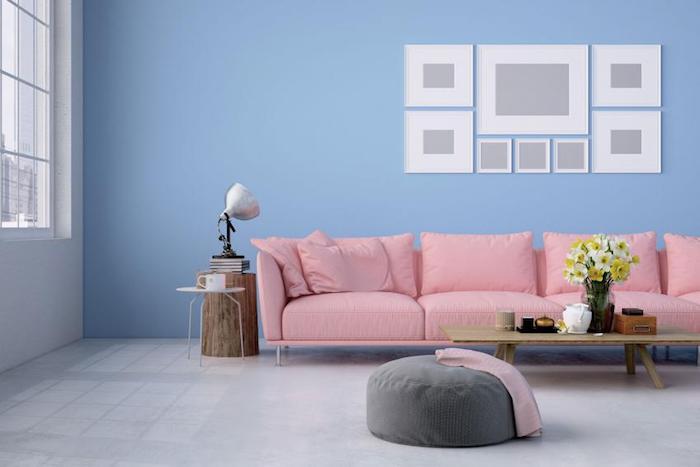 Chambre rose et bleu salon moderne canapé rose quelle couleur associer au rose poudre intérieur déco