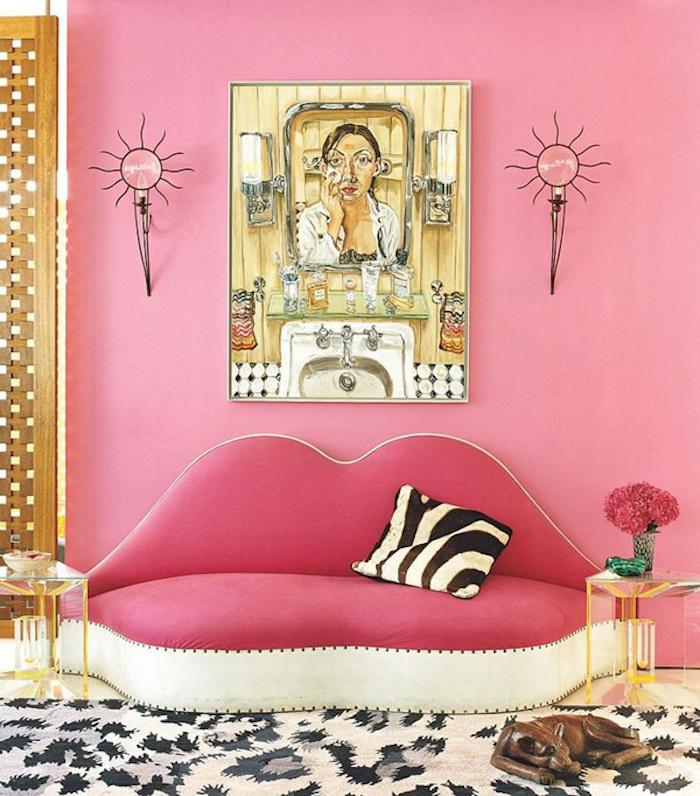 Décoration chambre blanche et grise déco chambre gris et rose mauve couleur pale levres canape forme originale