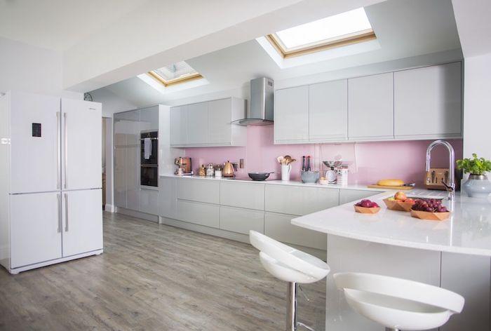 Cuisine blanche et rose moderne décoration cuisine blanche déco chambre blanc et rose mauve couleur pale