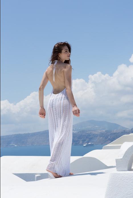 Longue robe transparente longue hippie chic robe légère été tenue magnifique blanche robe dentelle robe de plage