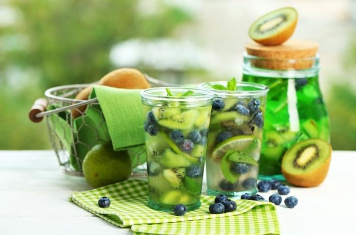 idée citronnade menthe avec kiwi et myrtilles, boissons fraîche préparée maison avec eau froide fruits et glaçons