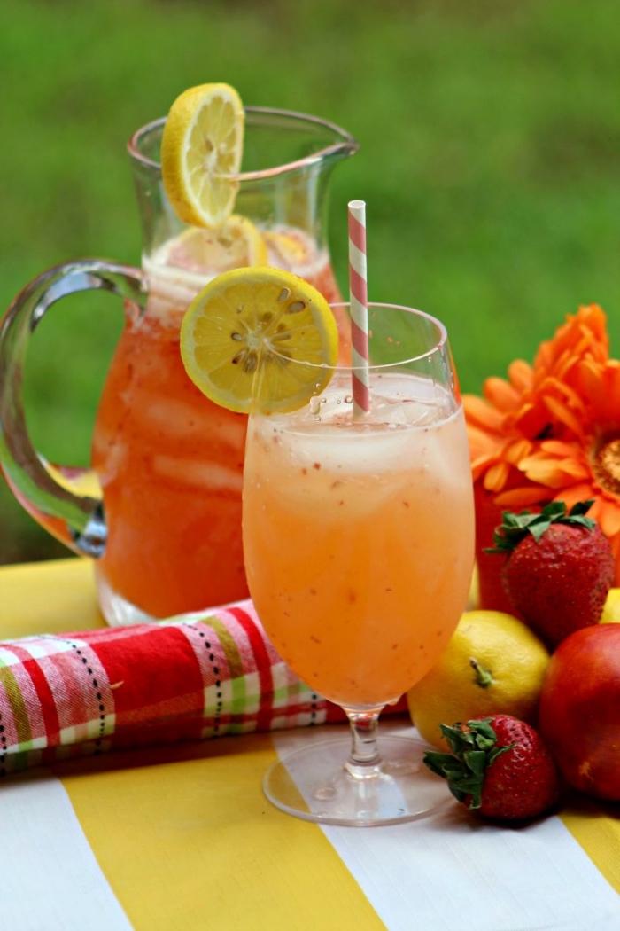 idée de recette citronnade aux agrumes et fraises, préparer une boisson fraîche avec eau gazeuse et fruits