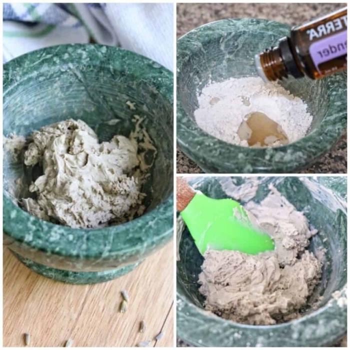 un masque maison visage detox à l'argile et à la lavande pour les peaux sujettes à des problèmes