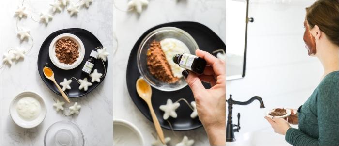 prendre soin de son visage en hiver avec un masque naturel visage au cacao, yaourt et miel, produit cosmétique naturel à faire soi-même