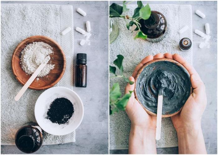 huiles essentielles contre les boutons et l'acné, recette de masque pour les boutons à l'argile, charbon et huile essentielle de tea tree