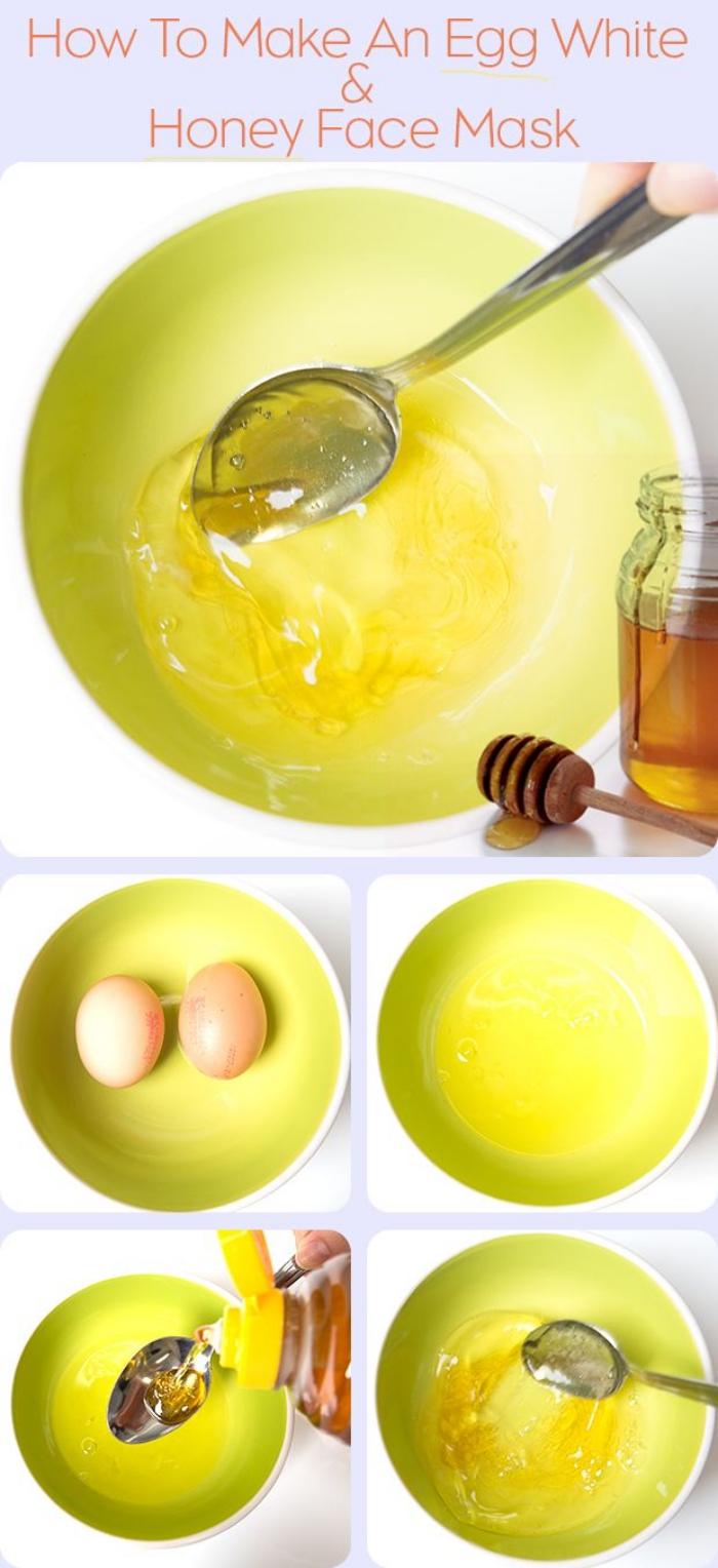 soin du visage pour pores dilatés et points noirs, à base de deux ingrédients simples, masque visage au miel et blanc d'oeuf