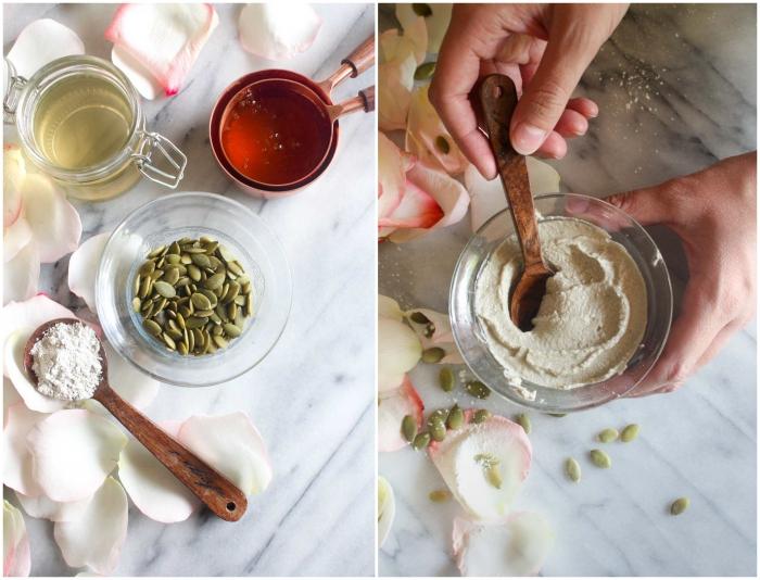 soins du visage naturels pour les peaux mixtes, masque pour le visage fait maison aux graines de citrouilles, à l'eau de rose et à l'argile