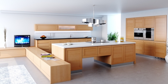 idée comment aménager une cuisine blanche avec meubles de bois clair et comptoirs blanc et noir sur un sol au carrelage gris clair