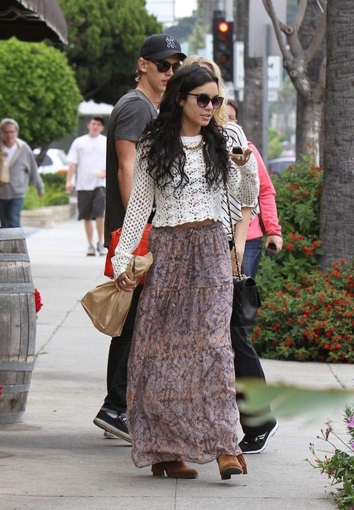 Robe deux pièces top blanche dentelle jupe longue boheme robe longue boheme ou hippie chic coachella tenue