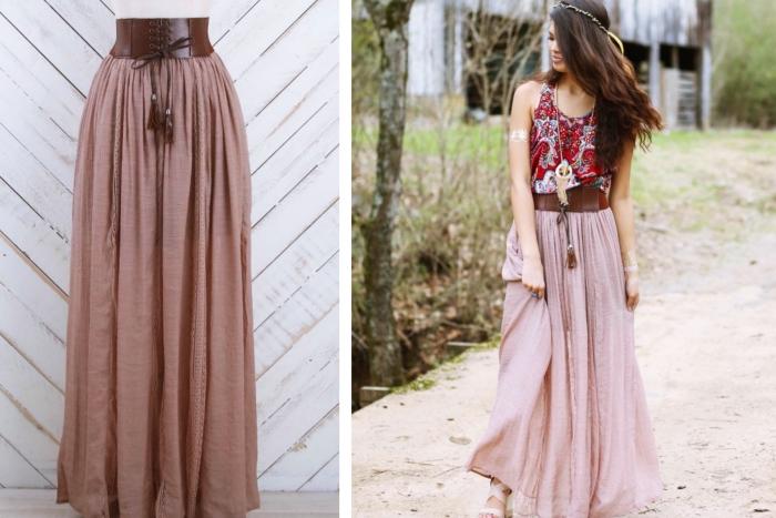 tenue hippie chic en jupe longue de couleur rose poudré portée avec ceinture en cuir marron et top rouge et bleu