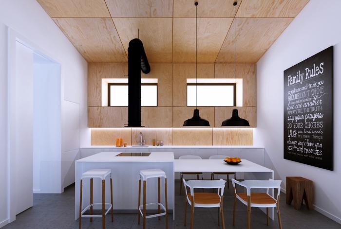 modèle de cuisine bois et blanc avec carrelage de sol gris anthracite et peinture murale en blanc, modèle de revêtement partiel pan de mur en bois clair