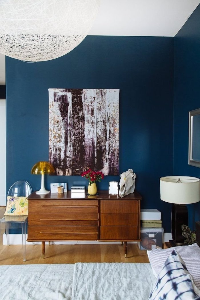 Décoration peinture salon chambre bleu canard idée idéale peinture pour chambre bleu canard chambre peinture abstrait déco
