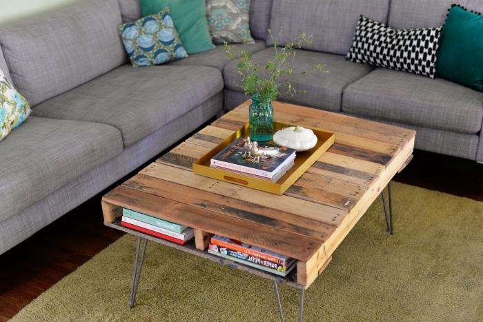 comment fabriquer une table basse à pieds en épingles d'esprit industriel avec un espace rangement pour les livres