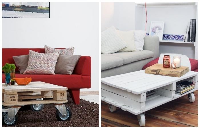 fabriquer une table basse avec des palettes récupérées pour apporter une touche d'originalité dans le salon