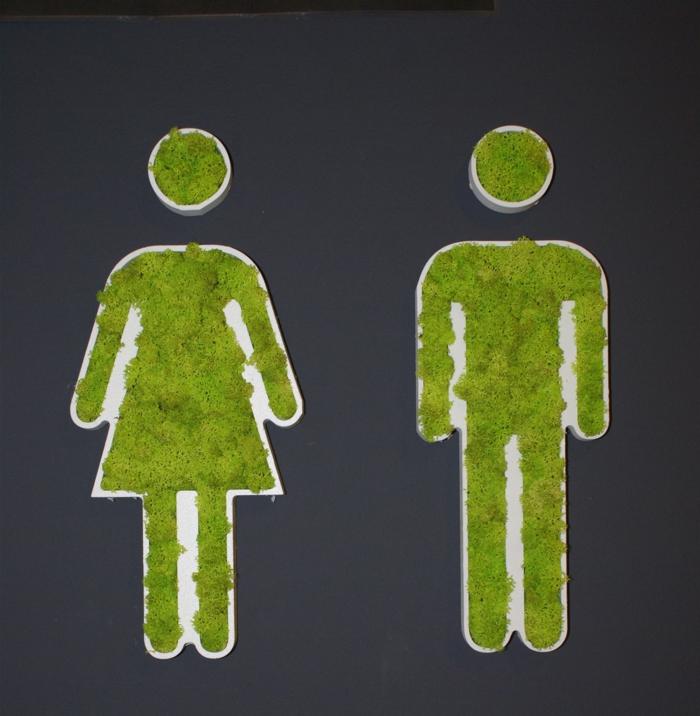 mur végétalisé interieur, tablettes qui indiquent les toilettes des dames et les toilettes des messieurs, figures en mousse verte, solution déco amusante