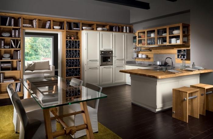 design intérieur cuisine aux murs gris clair avec parquet bois foncé et meubles de bois clair ou blanc, déco de cuisine blanc gris et bois