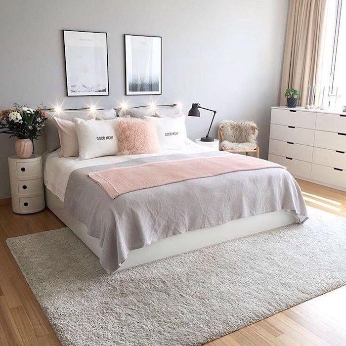 La plus belle chambre du monde chambre gris et rose chambre rose et gris adulte tapis et tableau moderne