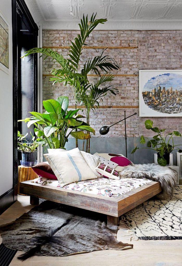 Couleur de peinture pour chambre couleur peinture chambre scandinave décoration industrielle plantes vertes loft new yorkais