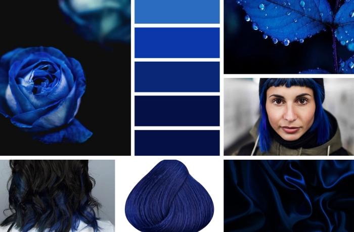 idée de teinture bleu foncé pour changer de couleur de cheveux, coiffure de cheveux ombré noirs aux mèches bleues