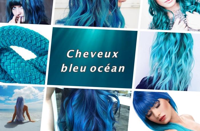 choisir une couleur de cheveux tendance, coiffure de cheveux de couleur bleu océan aux reflets turquoise bleu clair ou foncé