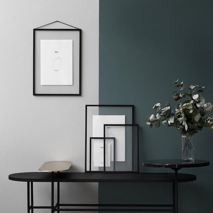Chambre bleu gris couleur peinture chambre idée couleur chambre adulte chic moderne peinture mur bicolore