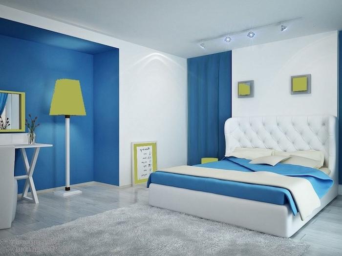 Peinture mur chambre couleur peinture chambre adulte scandinave cool déco bleu et blanc