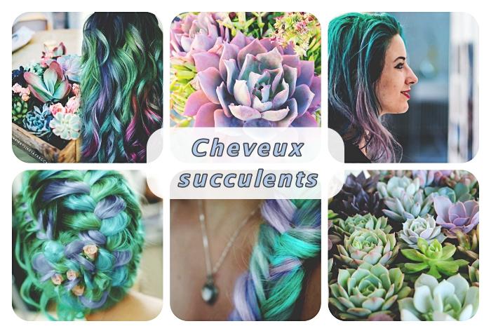 technique de décoloration cheveux foncés pour faire des mèches succulentes en vert bleu et violets, coloration turquoise avec mèches