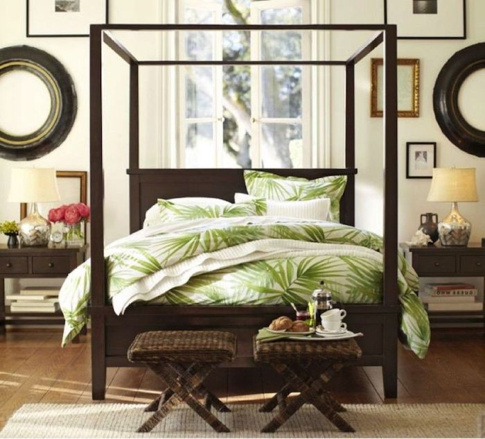 Aménagement chambre adulte couleur peinture chambre décoration moderne style coloniale