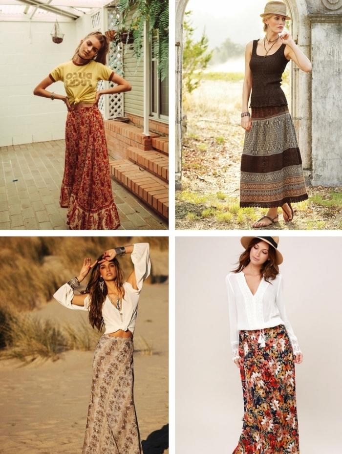idées de tenue boho chic avec jupe longue, quel top porter avec une jupe hippie, tenue femme de plage avec jupe rouge et t-shirt jaune