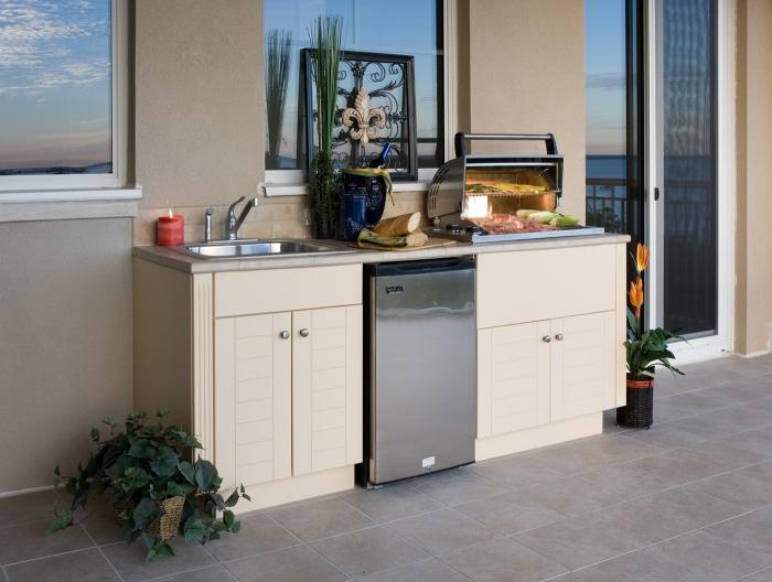 idée comment faire une petite cuisine sur la terrasse avec modules équipés d'évier extérieur et frigo en inox