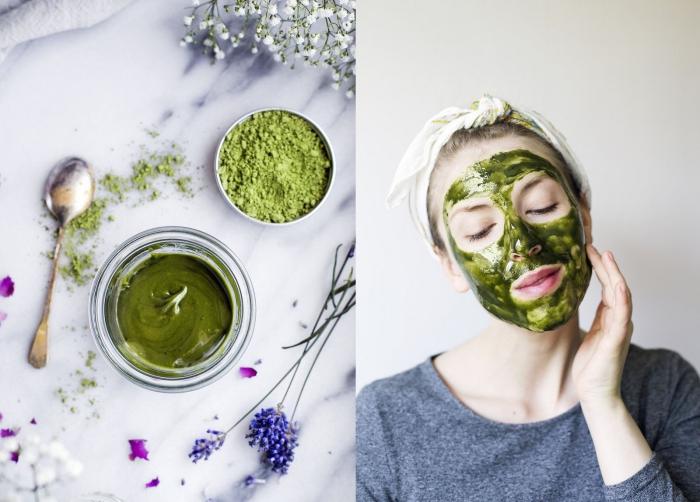 un masque naturel visage au miel et à la poudre de thé vert matcha pour à effet purifiant et nourrissant, quels sont les bienfaits de la poudre matcha