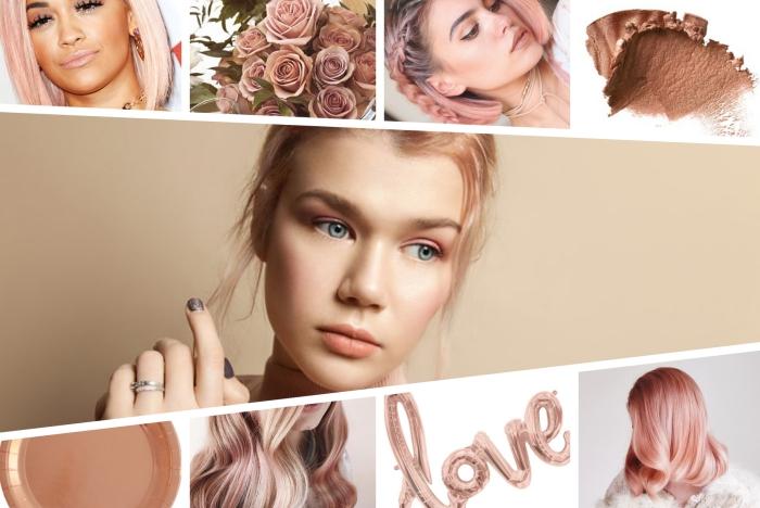 exemple de balayage rose gold sur cheveux de base blond blanc aux reflets rose pastel, idée coloration tendance de nuance rose