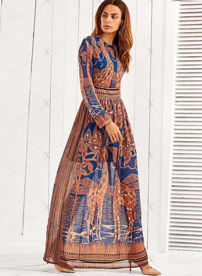 Tenue idée femme stylée robe longue hippie chic robe longue fleurie robe longue manche longue moderne