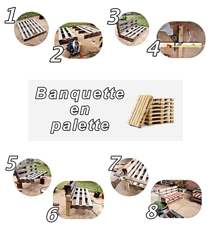 pas à suivre pour fabriquer une banquette en palette de bois, projet DIY pour faire un mobilier d'aménagement terrasse ou jardin