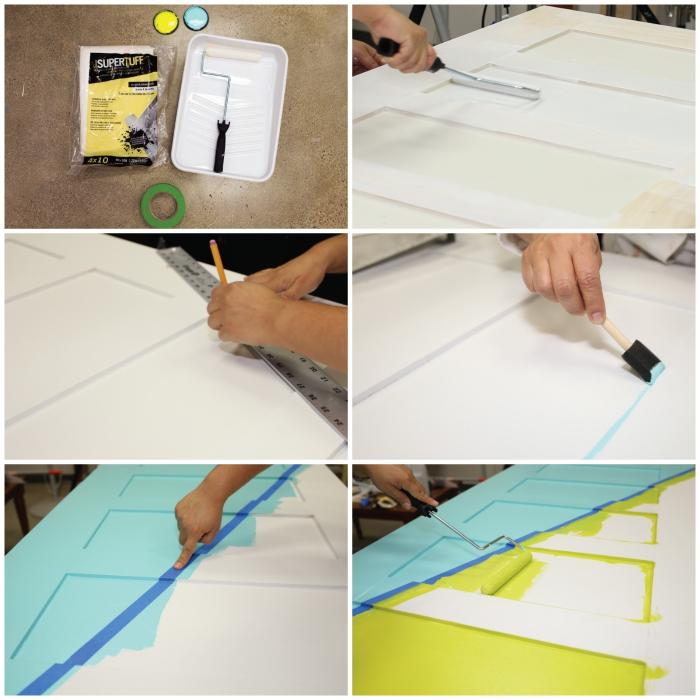 comment réaliser un simple dessin géométrique en peinture sur une porte interieure, une porte bicolore en bleu et jaune
