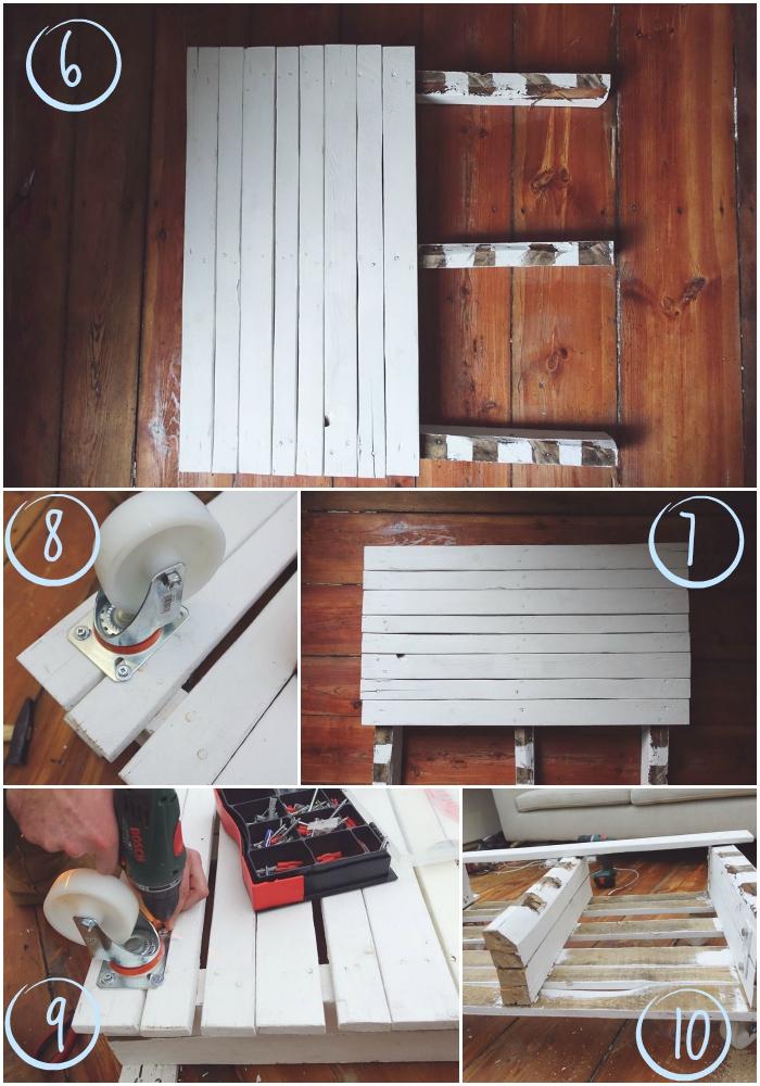 les étapes finales de la fabrication de la table basse palette blanche, comment fixer des roulettes sous la table