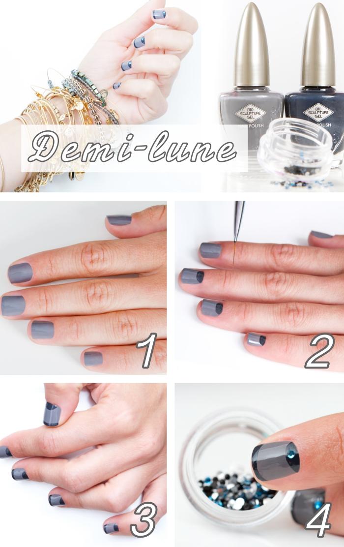 quel motif ongle choisir pour faire une décoration originale, exemple de nail art à effet demi-lune en gris clair et foncé