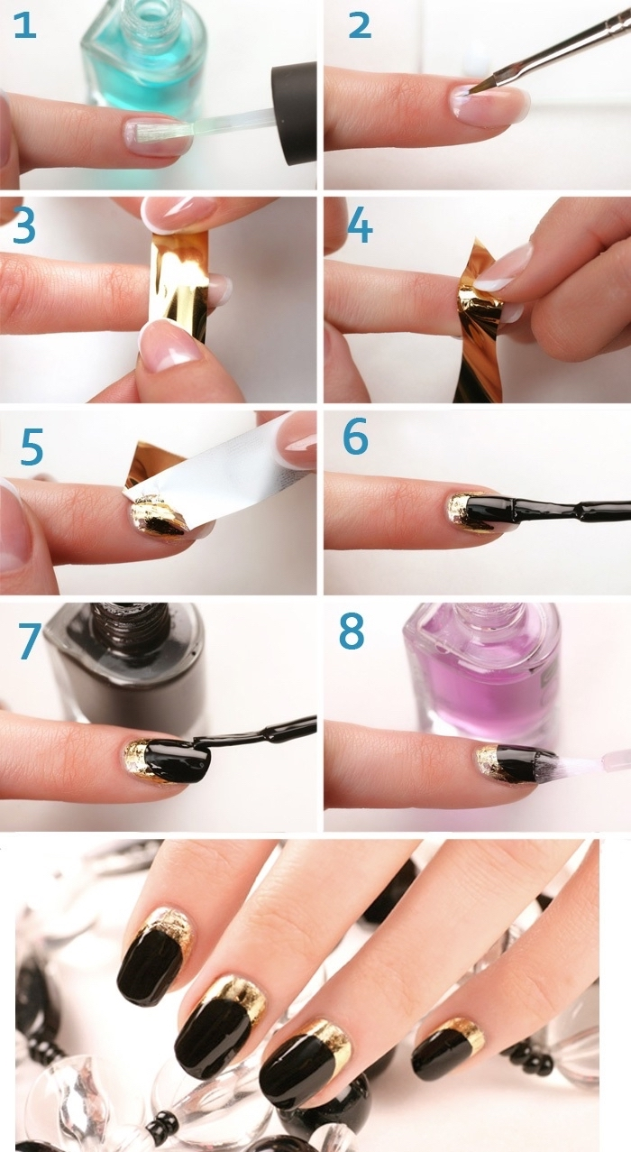 étapes à suivre pour faire une manucure élégante et originale de base noire, french nail art en noir brillant et effet demi-lune en or métallique