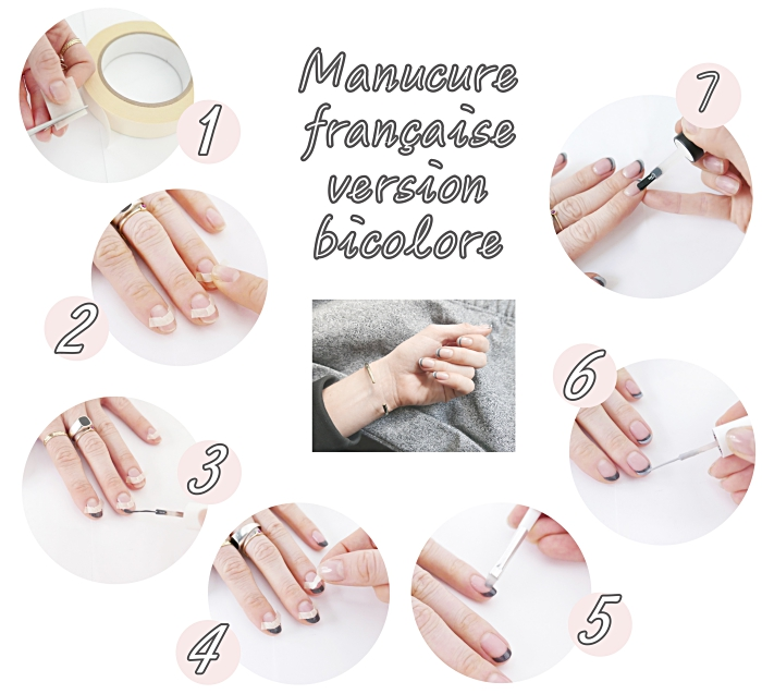étapes à suivre pour faire une manucure française en version bicolore gris clair et gris foncé, ruban adhésif ou stickers nail art pour french manucure