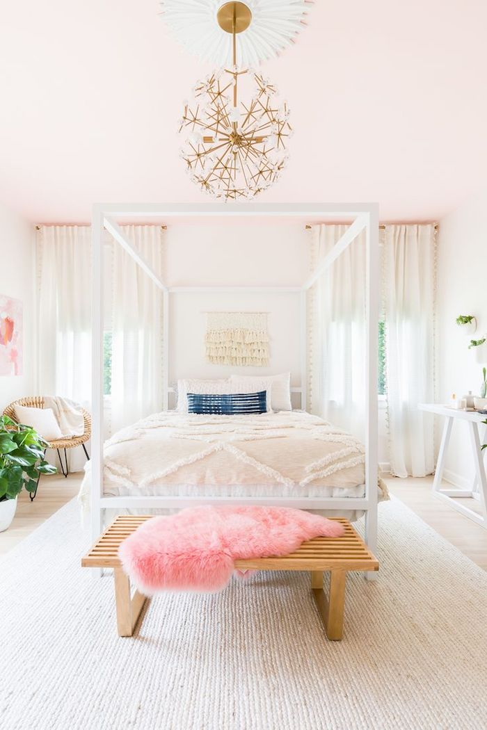 Chambre rose et gris quelle couleur associer au rose poudre style moderne mur pale rose lustre doré