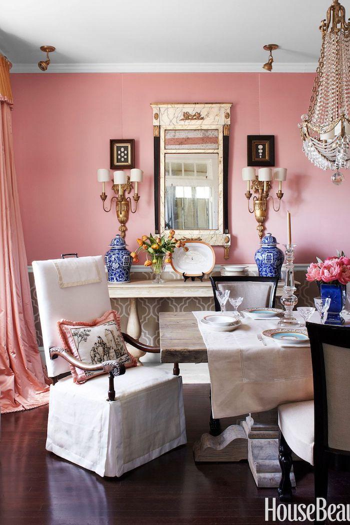 Chic décoration chambre blanche et grise ou chambre gris et rose peinture rose pastel