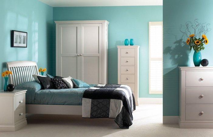 Couleur peinture chambre couleur idéale pour chambre adulte couleur signification bleu claire et blanc
