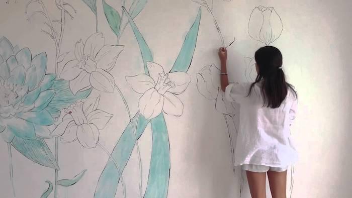 Chambre bleu gris couleur idéale pour chambre adulte déco chambre peinture fleurs mur