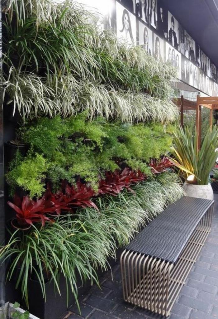 habillage mur exterieur avec des plantes en cinq couleurs, mur recouvert de photos, banc en tubes de métal en couleur grise, décorer un mur extérieur