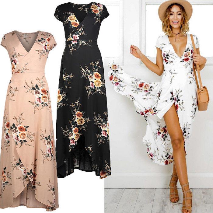 Longue rose pale robe qui peut être acheté en deux autres couleurs longue fleurie robe de plage longue décontracté chic